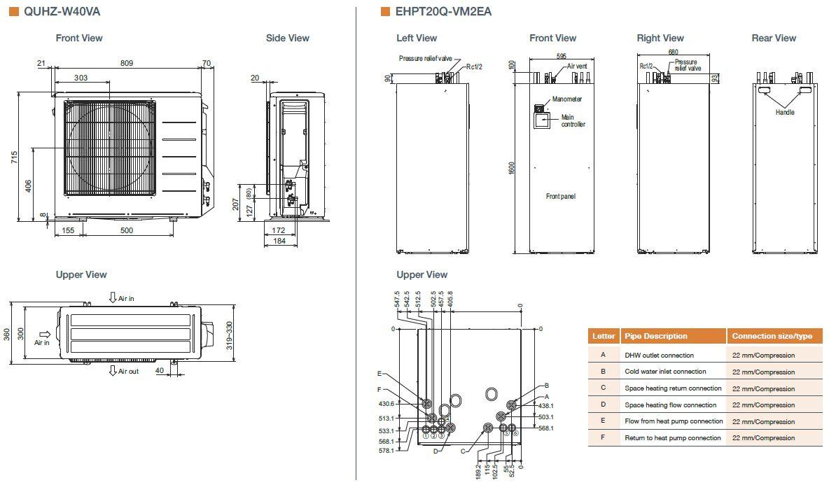 hight resolution of mitsubishi electric ecodan quhz w40va ehpt20q vm2ea air source heat pump with thermal